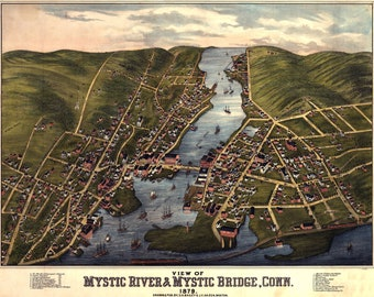 Map of Mystic River, Connecticut 1879; Antique Birdseye Map