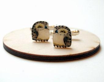 Snowy owl cuff links. Bird Cufflinks. Hand drawn cuff links. Mens accessories