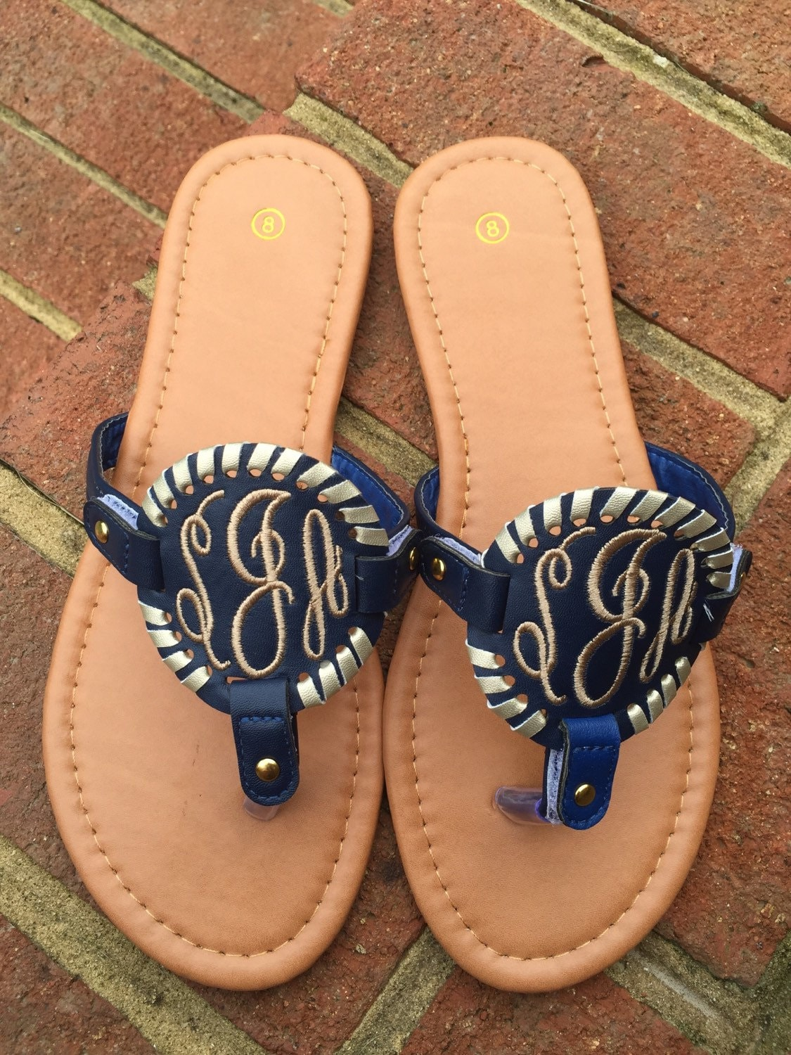 Monogrammed Embroidered Sandals Monogrammed Disk Sandals