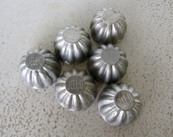 6 Small Jello Brand Molds Aluminum Individual Vintage 60s