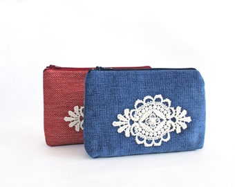 Mother day gift lace Makeup bag Cosmetic bags Make up bags Cosmetic pouch Lace bag Blue white bag gift Mother day gift women Gift for wife