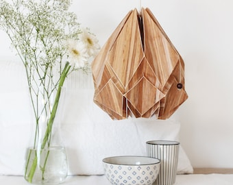 NEW! ECOWOOD pendant lampshade | exceptional lighting mixing origami and an innovative veneer made from banana plant trunks