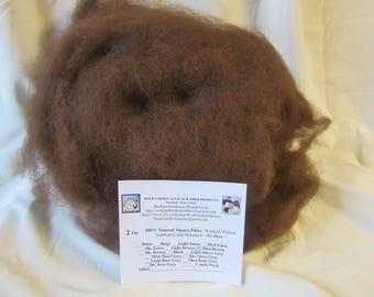 Alpaca Fiber - 2 oz. 100% Natural Medium Brown For Spinning, Nuno Felting or Needlefelting