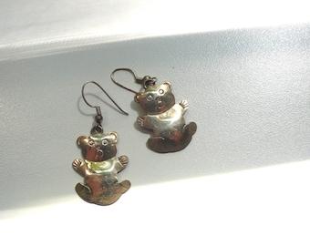 Vintage Sterling Silver Teddy Bear Earrings