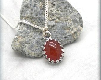 Oxidized Carnelian Necklace, Sterling Silver, Orange Necklace, Gemstone Necklace, Minimalist, Everyday, Cabochon Jewelry, Filigree