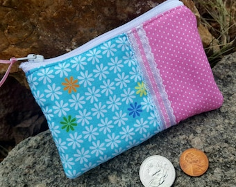 Girl's Floral Coin Purse, Turquoise and Pink Change Wallet, credit card pouch, change purse, credit card pouch zipper bag, lunch money pouch