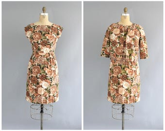 60s floral dress | vintage 1960s custom made dusty rose flower sheath dress | vtg 60s dress and jacket set | small