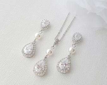 Crystal Bridal Earrings Drop Wedding Earrings Swarovski Pearl Earrings Teardrop Crystal Pearl Wedding Necklace Set Bridal Jewelry , Emma