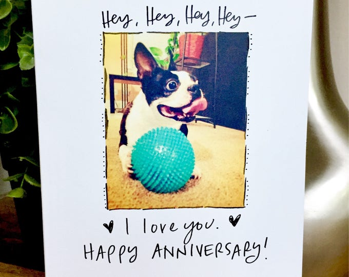 One Year Anniversary Card for husband, Paper Anniversary, dog anniversary card, 365 days, 1st wedding anniversary, 1 year anniversary, hey
