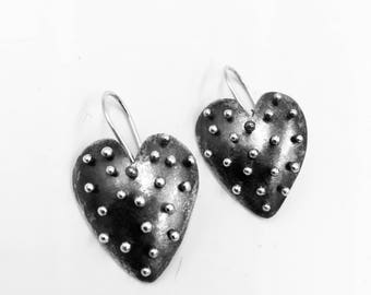 Sterling silver dotted heart earrings. Lisa Colby Metalsmith