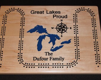 Custom made cribbage board personalized with your lake and family name.