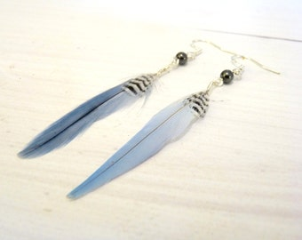 Silver feather earrings, bird lover gift, vegan friendly, hematite beaded feather accessories, blue bohemian jewellery