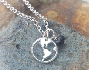 World peace necklace etsy silver earth charm sterling world peace necklace optional custom length silver chain aloadofball Choice Image