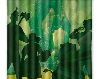 Off To See The Wizard Of Oz Shower Curtain - Oz Emerald City - Shower Curtain - Dorothy - Tin Man- Toto Oz - Yellow Brick Road