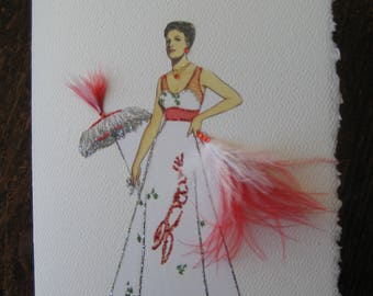 "Fashion Illustration card 1937 Elsa Schiaparelli ""Lobster Dress"""