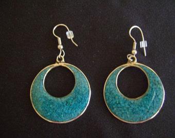 Alpaca Turquoise Hoop Earrings