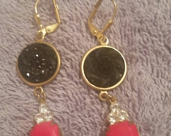 ANTIQUE BUTTON EARRINGS 1890 Black Glass Opaque Red and Swarovski Crystals