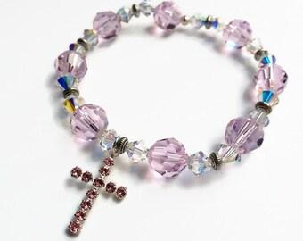 Swarovski Rosaline Inspirational Bracelet, Pink Cross Bracelet, Crystal Bracelet, Sale