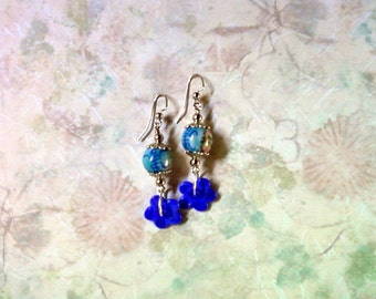 Blue Oriental Flower Earrings (1978)