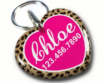 Pet ID Tags Animal Print Leopard Cute Heart Shaped tag Double sided Personalized