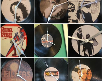 """record clock 12"""" vinyl  made to order with your favourite album cover unique music retro gift"""