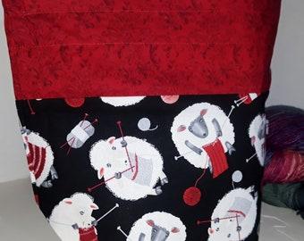Medium or Large Project WIP Tote Bag, Sheep Knitting, Fluffy, Wool-y Yarn, Happy Cool Sheep Knitting Inspired, Zipper or Drawstring