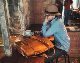 "Leather Messenger Bag, Full Grain Leather Briefcase, 15"" Laptop Bag, Handmade Cross-body Bag, Retro Metropolitan Fashion, Men's Leather Bag"