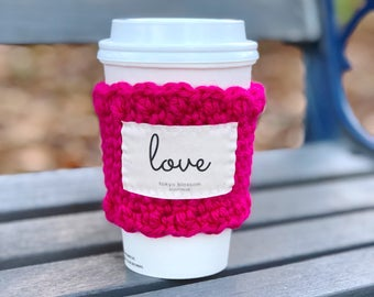 love coffee cozy, valentines gift for women, Christian teacher gifts, inspirational gift for her, gift for bestfriend, coffee cup sleeve