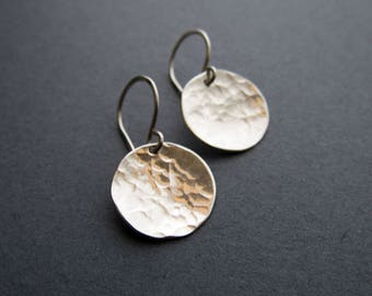 Hammered Sterling Silver Coin Earrings, Sterling Silver Earrings, Hammered Silver, silver, earrings