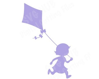 Little Girl Flying a Kite SVG Cutting File - INSTANT DOWNLOAD