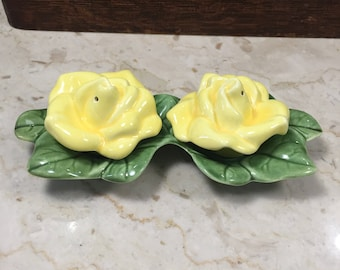 Yellow Rose Salt and Pepper Shakers -