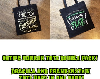Dracula and Frankenstein book quote tote bag double pack, horror lovers gift, book lover gift, horror novel quote tote bag, horror tote bag