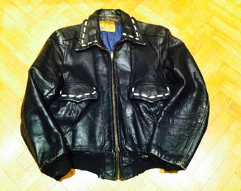 VINTAGE ULTRA RARE Grais Rockabilly,50s,Biker, Hot Rod Leather Jacket. Free shipping !