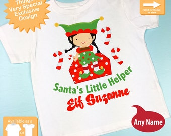 Kids Christmas Outfit, Toddler Gift - Kids Gift Girl's Elf Shirt, Santa's Helper Shirt, Personalized Santa's Little Helper Shirt (11052015i)