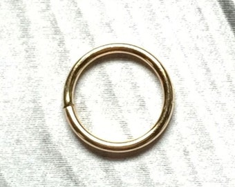 14K Gold Nose Ring, 12 to 24 Gauge, Gold Earring, Gold Cartilage Earring, Gold Septum Ring 12g 14g 16g 18g 20g 22g 24g, Solid Gold Nose Ring