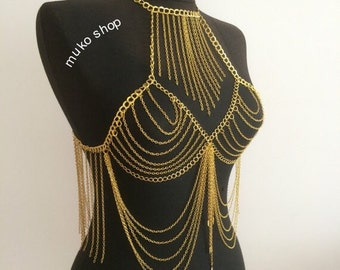 Tiered Body Chain Bralette, vest chain, body harness, gold body  harness, festival jewelry, body jewelry, body chain, mk*8