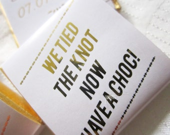 Personalised Chocolates Wedding Favour Tied the Knot, Gold Print - pack of 25 pcs