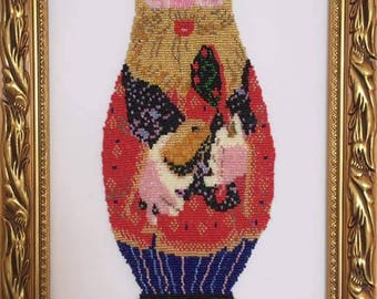 "Picture of beads, embroidery with beads, ""Matryoshka grandfather"""