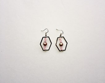 Lavender and Blush Upcycled Geo Earrings