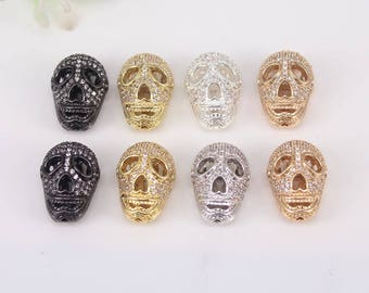 10pcs Metal Copper Micro Pave CZ Skull connector Beads,Charm Cubic Zirconia Skull loose beads For Jewelry Making