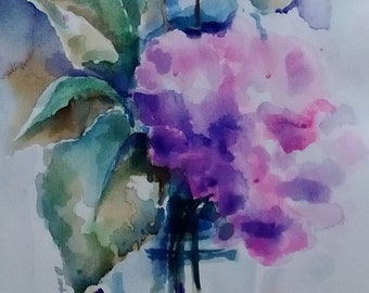Original painting a ' watercolor composition of hydrangeas-original painting watercolor hydrangea flower