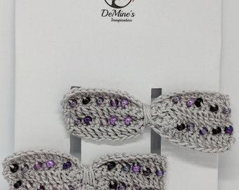 Crochet beaded hair bows