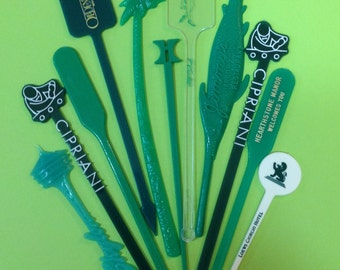 Vintage Swizzle Sticks x10 Green Drink Stir