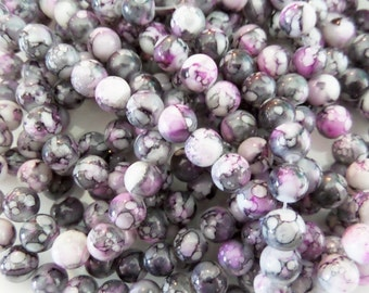 8mm Pink/ Purple, White and Grey Swirl Glass Beads, 40CT. Round Beads, S34A, watercolor, splatter