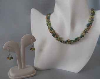 Blue, Green & Champagne Czech Bead  Necklace and Earrings