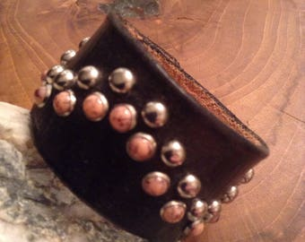 Pink Coral Black Leather Bracelet