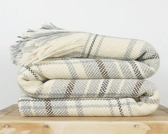 Gray plaid afghan blanket for College bedding decor with fringes
