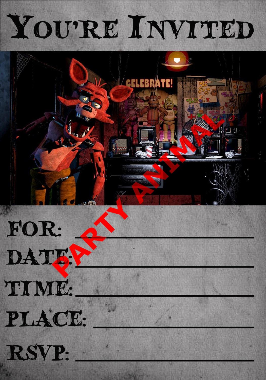 Cinco Noches En Descarga Instant Nea De Foxy Invitaci N Fiesta # Foxy Muebles Y Objetos