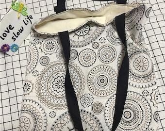 Cotton Linen Eco Reusable Market Shopping Tote Shoulder Bag Print Circle Flower Motif L02