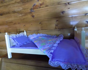 """18"""" doll hardwood bed with mattress cover, bedspread and matching pillow FREE SHIPPING"""